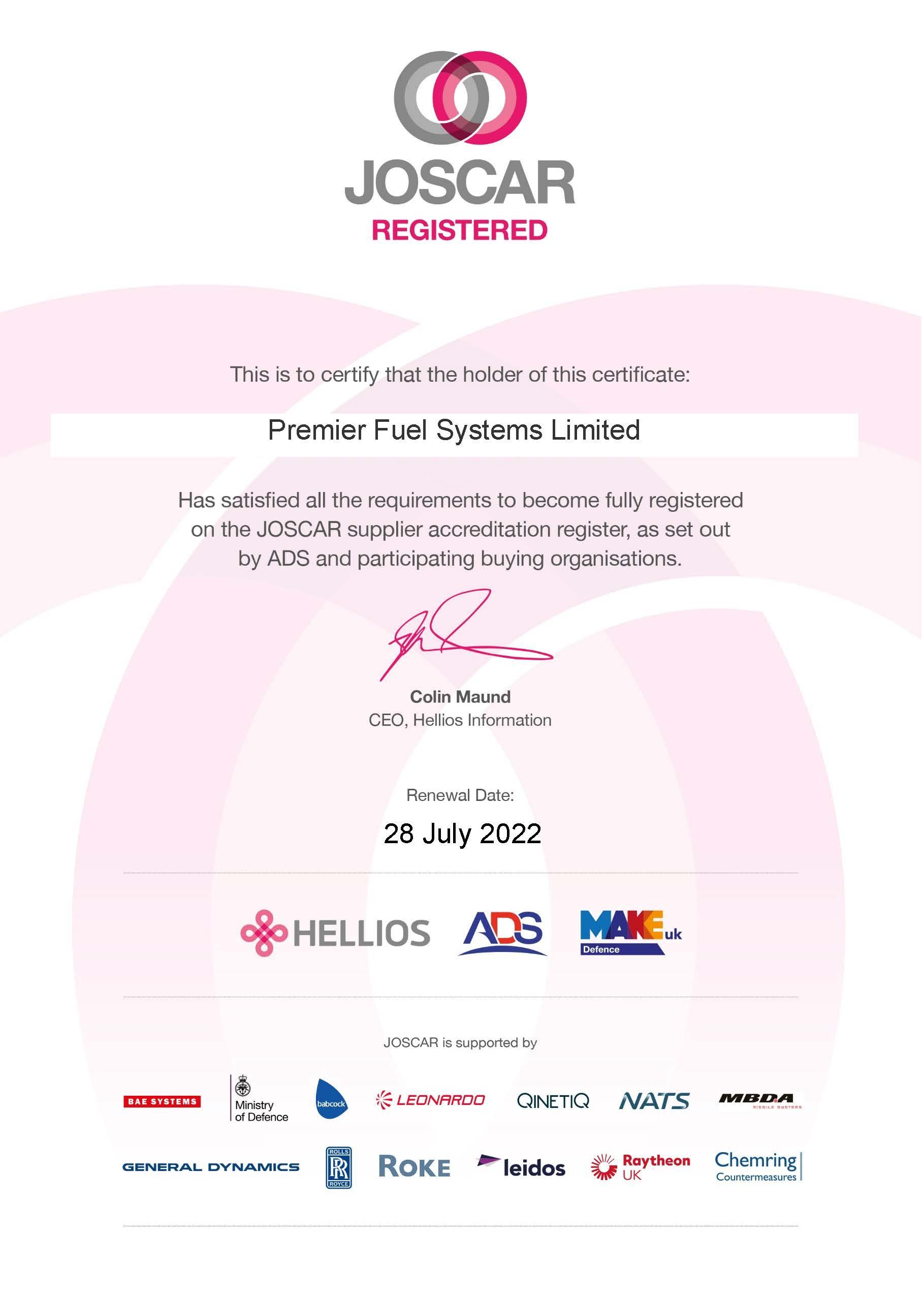 JOSCAR Certificate (Premier Fuel Systems Limited)